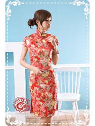 Red peony with phoenix brocade dress SMS10