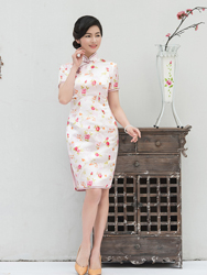 White cheongsam with pink flowers