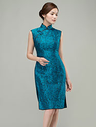 Peacock blue short qipao dress