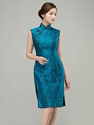 Peacock blue short qipao dress