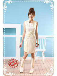 White with yellow dragon cheongsam dress SMS12