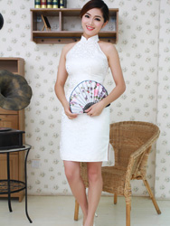 white cheongsam short dress