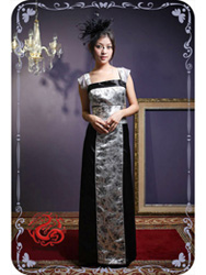Silver with black brocade dress SMS26