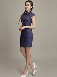 Blue cotton short qipao dress