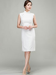 White cotton-linen short qipao dress
