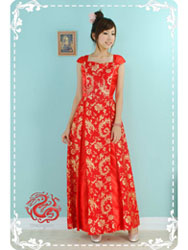 Red phoenix tail brocade dress SMS89
