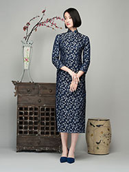 Navy brocade long cheongsam