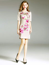 Beige short dress with plum blossom embroidery
