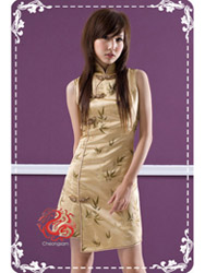 Golden bamboo brocade dress SMS14