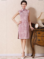 white-wine cotton short qipao dress