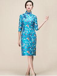 Lake blue embroider tai silk cheongsam
