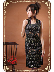 Black butterfly brocade qipao SMS28