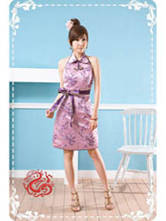 Purple plum brocade halter qipao SMS90