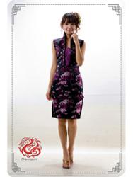 Black peony sleeveless modern cheongsam dress sms58