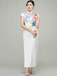 White cheongsam dress with colorful peonies embroidery