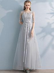 Silver-gray evening dress