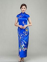 Sapphire blue silk cheongsam with colorful phoenix