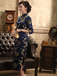 Dark blue plum cheongsam dress