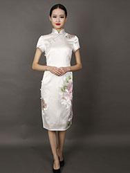 wihte peonies embroidery short choengsam dress