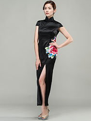 Black satin with peony embroidery qipao dress