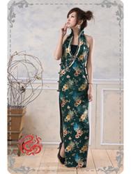 Dark blue cheongsam dress SMS54