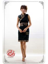 Black dragon modern cheongsam dress SMS62