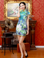 light green winter jasmine short qipao