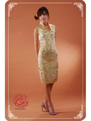 Golden buetterfly U neck qipao SMS42