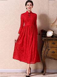 Red  A-skirt qipao dress