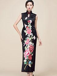 Black embroidery long cheongsam dress