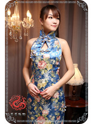 Blue brocade cheongsam dress SMS56
