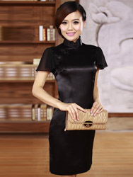 Black Silk cheongsam dress scs20