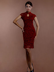 Wine red lace short cheongsam