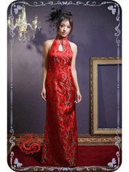 Red halter qipao SMS39