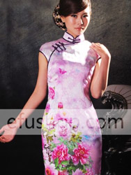 Hot pink and mauve peony with different shade green leaves pattern silk cheongsam