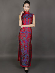 Purple rich flower on Dark red cheongsam