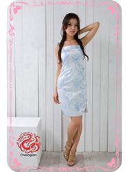 Light blue plum brocade spasghetti straps dress SMS49