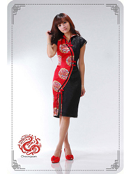 Red/black modern cheongsam dress SMS05