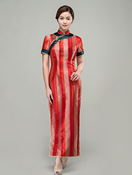 Red satin strip cheongsam dress
