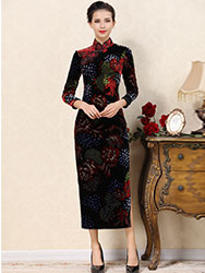 Black velvet cheongsam dress