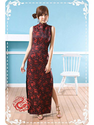 Black with red dragon sleeveless cheongsam SMS57