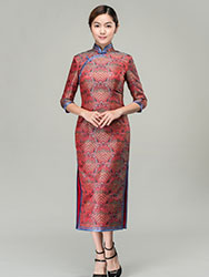 Lucky-cloudy patterns long cheongsam dress