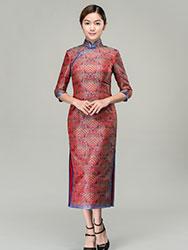 Lucky-cloudy patterns long cheongsam dress