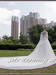 Long tail white wedding love dress