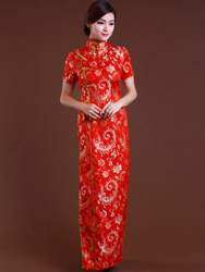 Red golden phoenix tail flower cheongsam