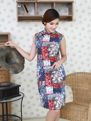 Blue colorful cotton cheongsam