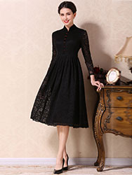 Black A-skirt qipao dress