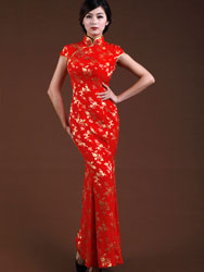 Red silk satin fishtail dress