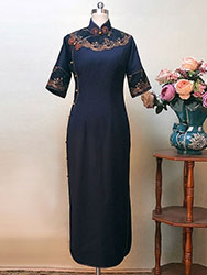 Dark-blue cheongsam dress with wide lace piping