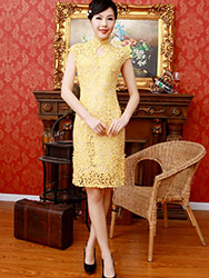 Yellow lace short cheongsam
